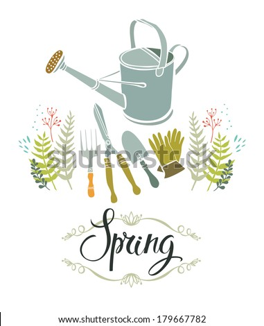 Spring gardening design card - stock vector