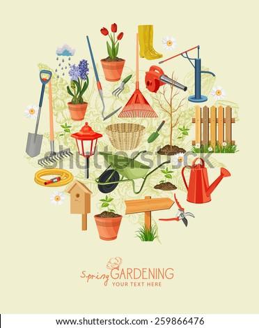Spring gardening. Garden icon set. Vintage poster - stock vector
