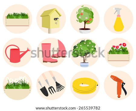 Spring gardening icons set with assorted round icons depicting garden tools, flowering trees and plants and a nesting box over a blue background, vector illustration - stock vector