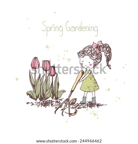 spring gardening theme, girl with rake - stock vector