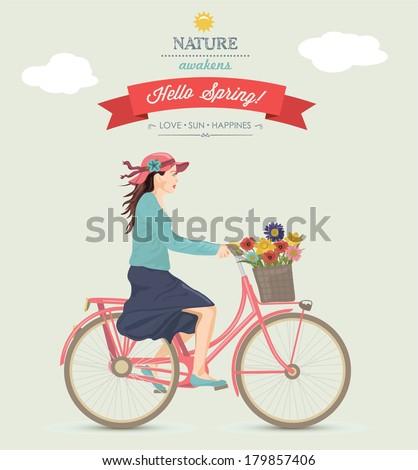 Spring Girl on Bike. - stock vector