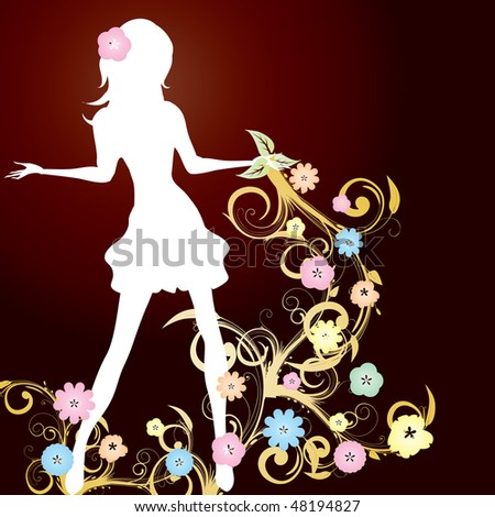 Spring girl with flowers and curlicue on brown background, vector illustration