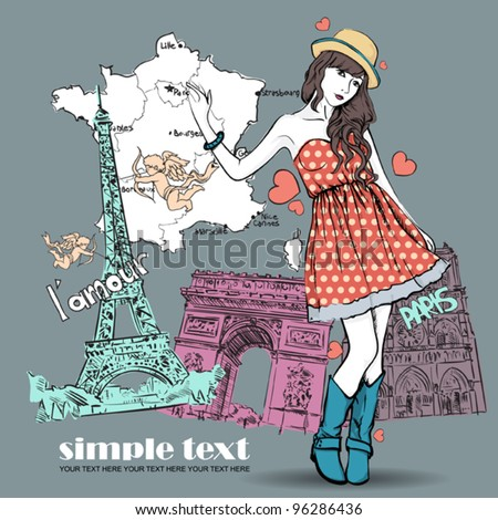 Spring girl with hat on a french background. Vector illustration - stock vector