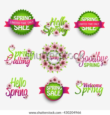 Spring glossy label and typography icon set,elements set.