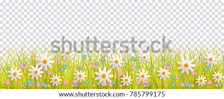 Spring grass flowers border easter greeting stok vektr 785799175 spring grass and flowers border easter greeting card decoration element flat vector illustration isolated mightylinksfo