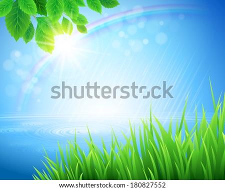 Spring grass vector background - stock vector