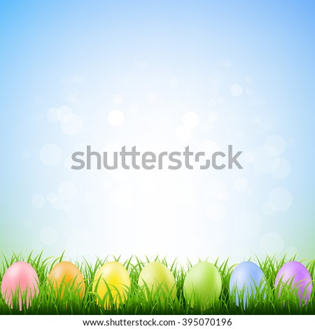 Spring Grass With Easter Eggs With Gradient Mesh, Vector Illustration
