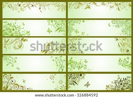 Spring green decorative banners - stock vector