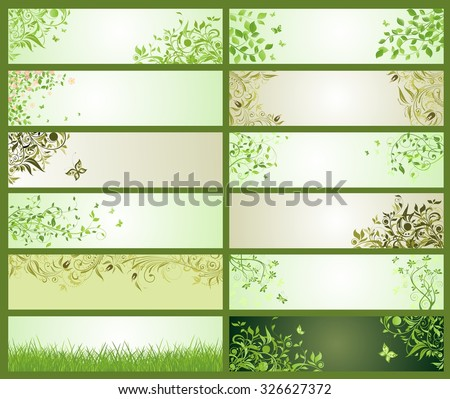 Spring green decorative floral banners - stock vector