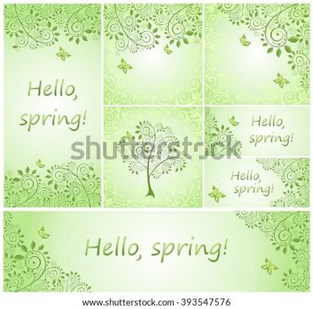Spring green decorative floral design - stock vector