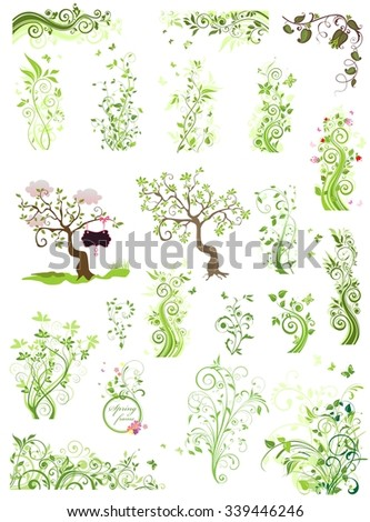 Spring green floral design elements - stock vector