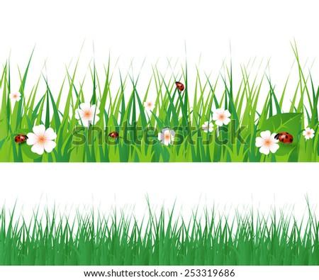 Spring green grass seamless border. Detailed vector illustration - stock vector