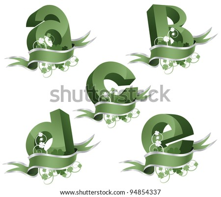 Spring growth alphabet letters icon symbol set EPS 8 vector, grouped for easy editing. No open shapes or paths. - stock vector
