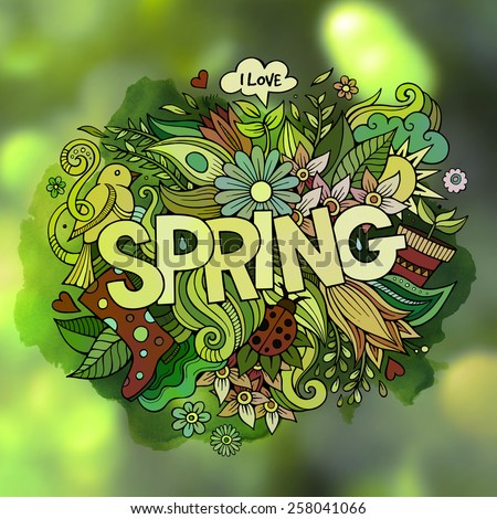 Spring hand lettering and doodles elements. Vector blurred illustration - stock vector