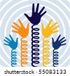 Spring hands vector. - stock photo