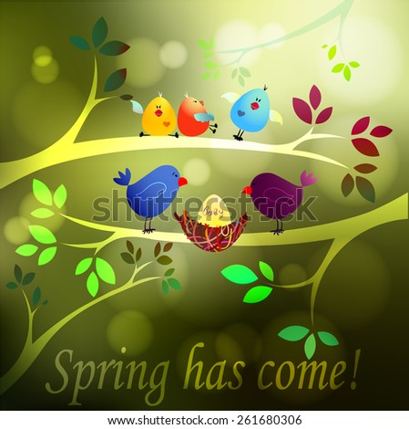 Spring has come! Birds family - father, mother and egg in the nest. Vector illustration. - stock vector