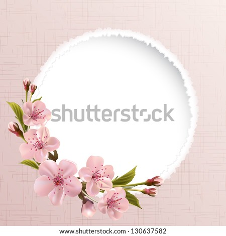 Spring header with pink cherry flowers, buds and copy space. Vector illustration - stock vector