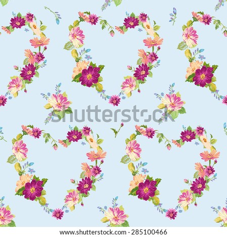 Spring Hearts Flowers Backgrounds - Seamless Floral Shabby Chic Pattern - in vector - stock vector