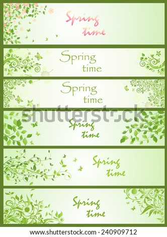 Spring horizontal banners - stock vector