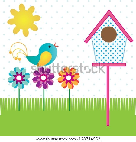 Spring Icons flowers, and bird. On white background