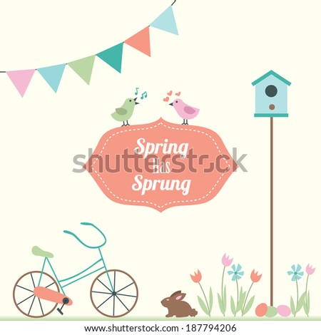 Spring Illustration with Bike, Bunny, and Tulips - stock vector