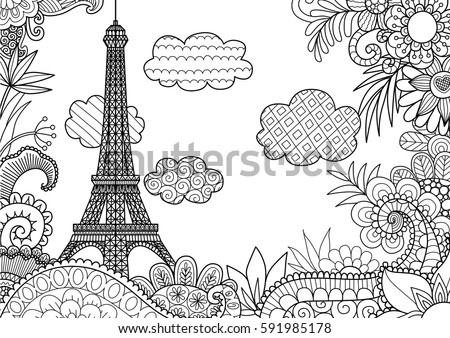 Spring in paris for coloring page stock vector