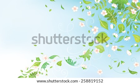 Spring in the air. Spring background for your design with  place for your text in the sky. - stock vector