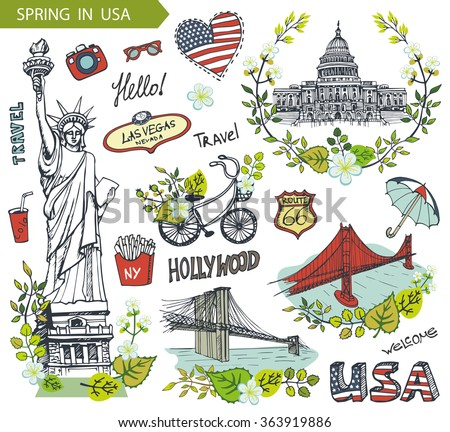 Spring in USA,floral decor.Vector Doodles.American travel symbols in hand drawn sketch,sign of landmark,lettering.Vintage Illustration,background.Golden gate,Brookline bridge,Statue Of Liberty,Capitol - stock vector