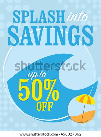 Spring into savings up to 50% off poster - stock vector