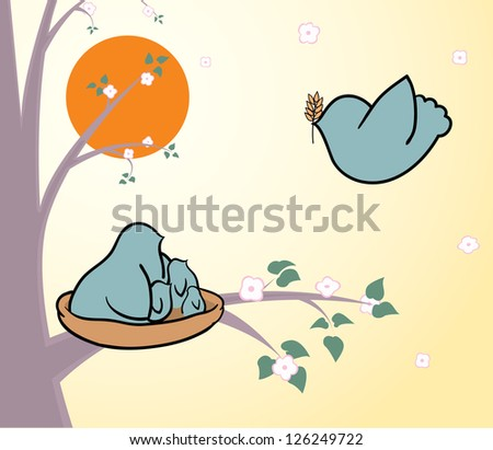 Spring is coming. Bird bringing an ear to the nest for its children - stock vector