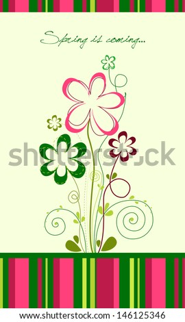 Spring is coming greeting card - stock vector