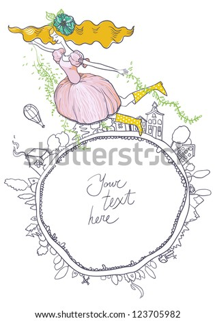 Spring is coming. Spring girl flies Earth and brings with it a change. The frame - stock vector