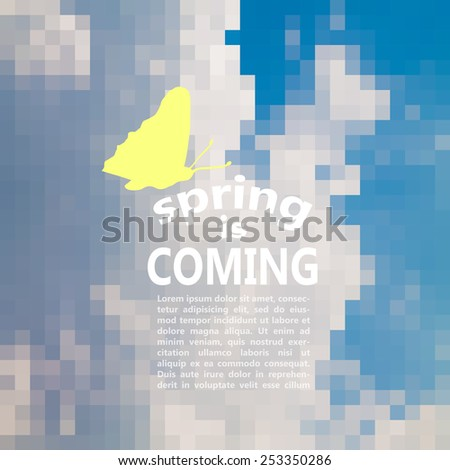 spring is coming. spring time vector typography design on mosaic background. sky with clouds - stock vector