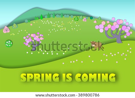 Spring is coming.The beginning of spring.Concept change of seasons.Paper cut style.Green spring meadow with blossoming tree, banner.Cow on pastures - stock vector
