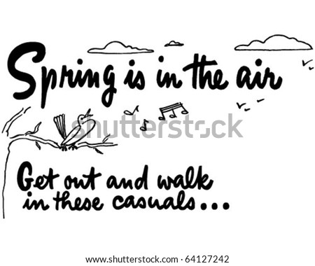 Spring Is In The Air - Ad Header - Retro Clipart - stock vector