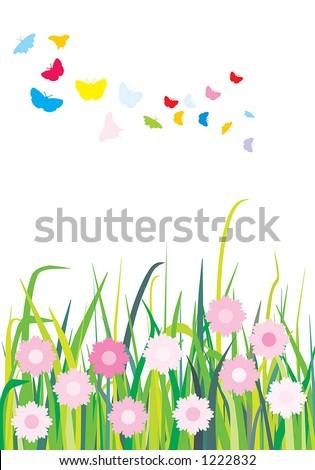 Spring landscape (3 layers: butterflies, flowers & grass) - stock vector