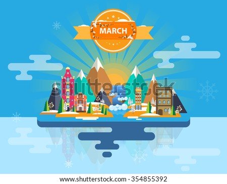 Spring landscape. Small town. Set of urban buildings. Calendar. Month of March.   Infographics. Mountains, sun, rays, forest, nature, river, city. Flat design. Stock. Image. Illustration. Vector. - stock vector