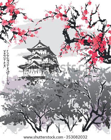 Spring landscape view of the Matsumoto Castle, Japan. Hand-drawn sketch. Vector illustration