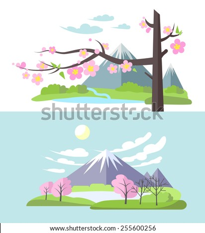 Spring landscape with blooming Sakura and mountains in flat style - stock vector