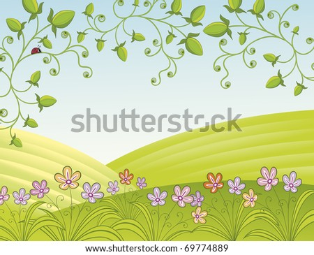 Spring landscape with fields and flowers. Objects have clipping mask, Easy to release and edit.