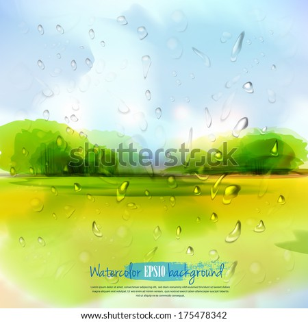 Spring landscape with rain drops.The illustration contains transparency and effects. EPS10 - stock vector