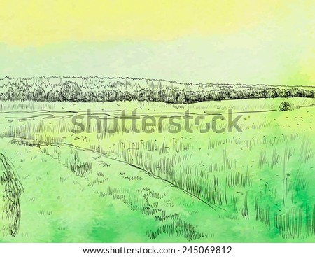 Spring landscape with road. Watercolor vector illustration. - stock vector