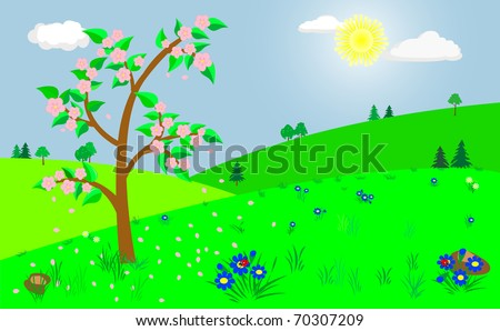 Spring landscape with the blooming tree. Vector illustration.