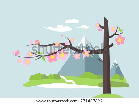 Spring landscape with the mountain and blooming tree. Asian landscape. Flat style - stock vector