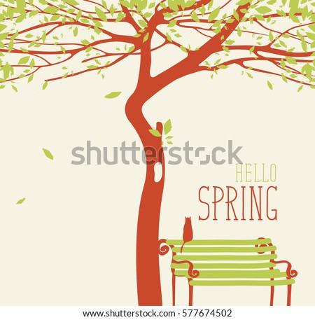 Spring landscape with tree and bench with a cat