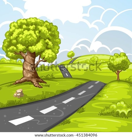 Spring landscape with trees and road - stock vector