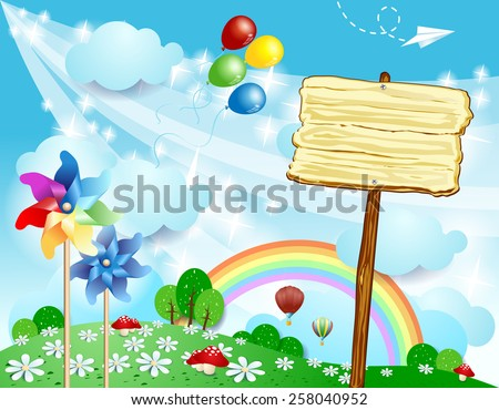 Spring landscape with wooden sign, vector eps10 - stock vector