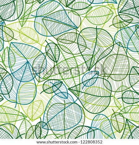 Spring leaves seamless pattern, vector background. - stock vector