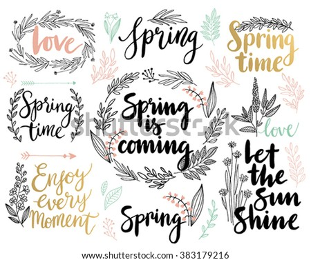 Spring Lettering set - hand drawn Vector illustration. - stock vector