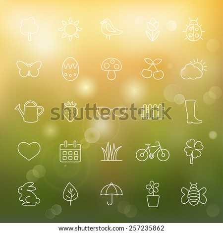 Spring line icons set.Vector - stock vector